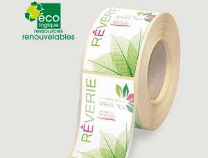 etiquettes autocollantes ECOLOGIQUE-fabricant d'etiquettes en rouleaux-Etiquettes verte-imprimerie etiquettes-autocollantes Canne fibre-etiquettes autocollantes