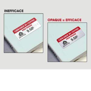 etiquettes rectificatives -  autocollantes rectificatives  papier couché fond grisé