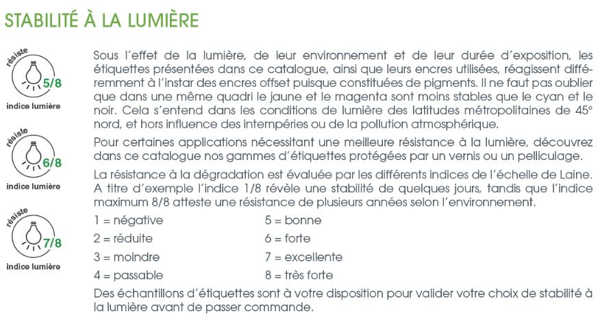 etiquette RESITANTE à la lumiere -information technique étiquettes autocollantes  - imprimerie ADHESIVE  - ETIQUETTOO