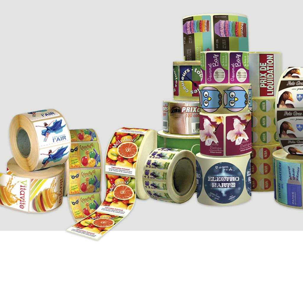 etiquettes autocollantes 4 couleurs - etiquette autocollantes Quadri -  etiquetttes  autocollante colle renforcé- etiquettes adhésif renforcé-  étiquettes autocollantes multi -usages